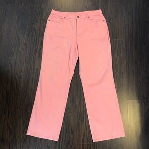 talbots pants pink stretch petites woman size 14